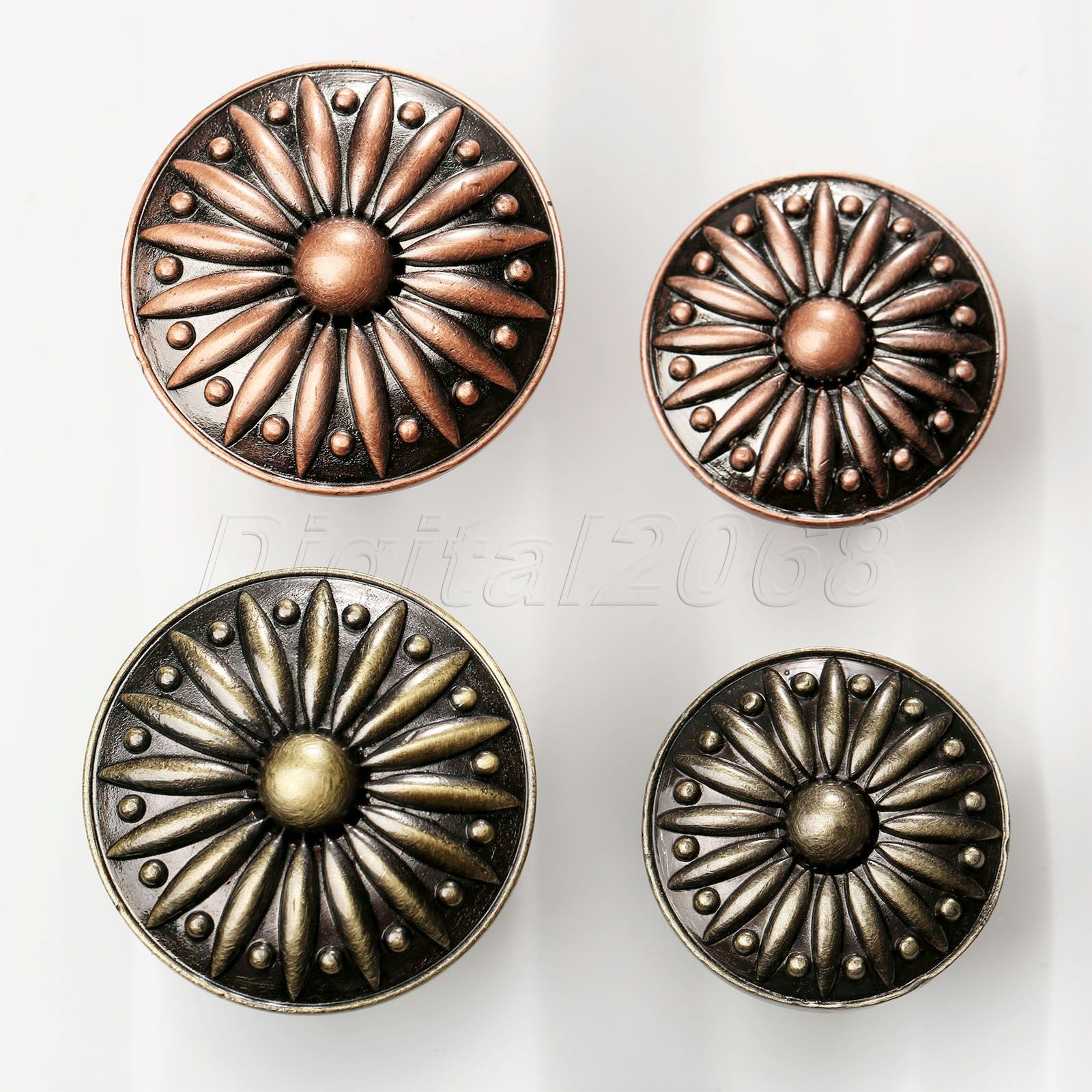 Cabinet Door Mini Pull Knobs Retro Round Antique Rose Flower Handle Single Hole