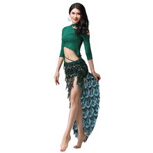 Belly Dance Skirt Women Clothes 2019 Sequined Hip Scarf Waistband Fringed Costume Set Bellydance Practice M-XL