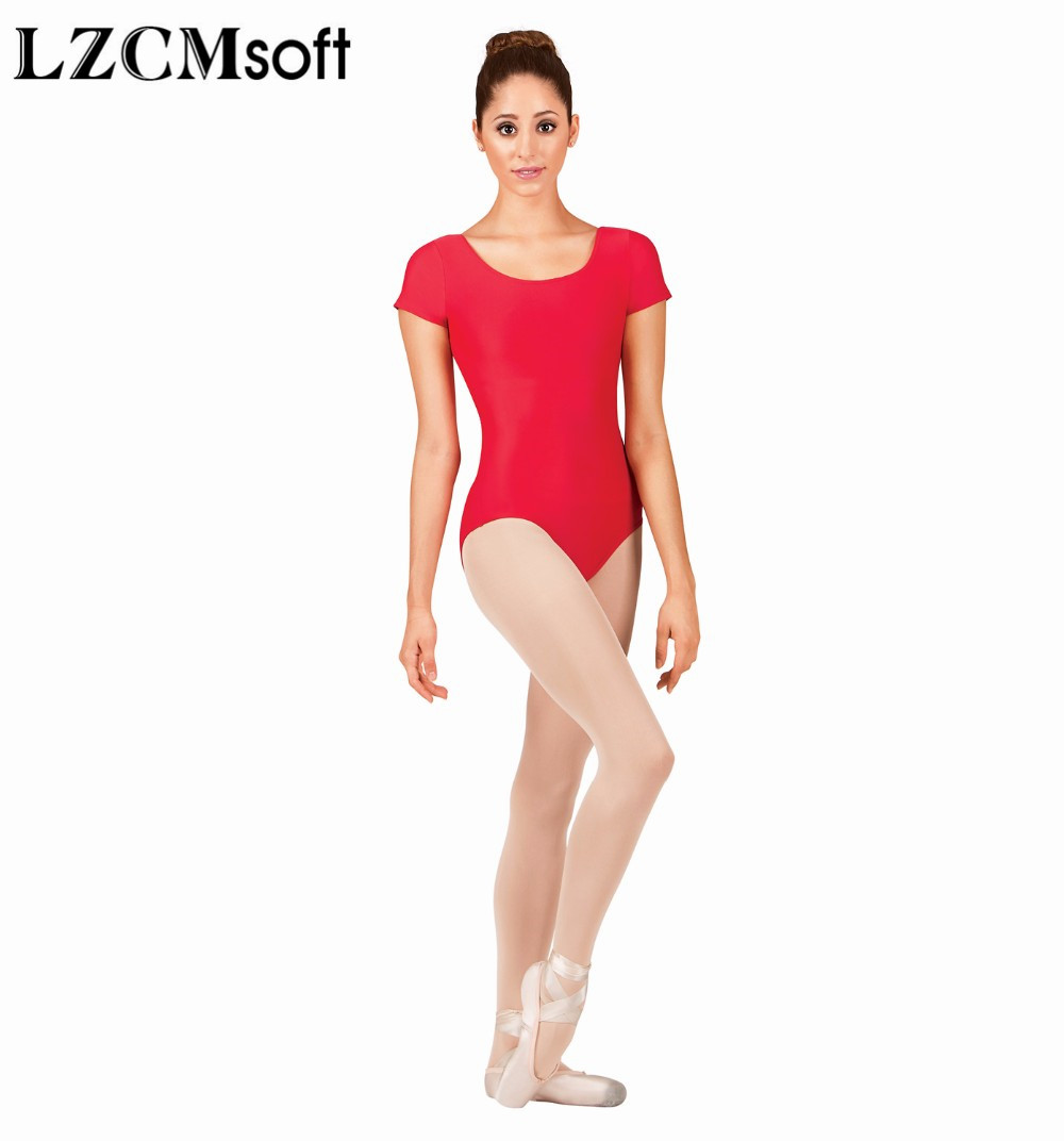 c2cd7794ddc6 LZCMsoft Adult Nylon Short Sleeve Gymnastics Leotard Spandex Scoop Neck Black  Ballet Leotards Jumpsuit For Women Dance Wear Suit