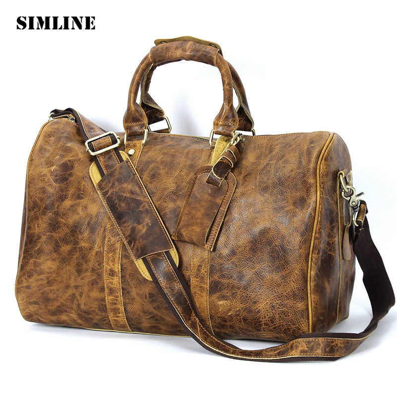 New Vintage Casual 100% Genuine Crazy Horse Cowhide Leather Large Capacity Men Travel Handbag Shoulder Luggage Bag Bags For Man 2013 male commercial travel bag genuine leather men luggage travel bags shoulder large capacity cowhide business bag items tb17