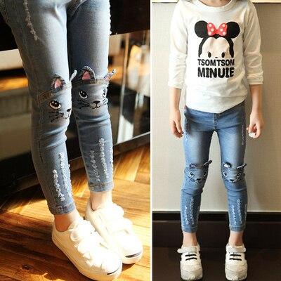 2017 весной и осенью дети одежда повседневная джинсы брюки, мультфильм изображения девушки джинсы