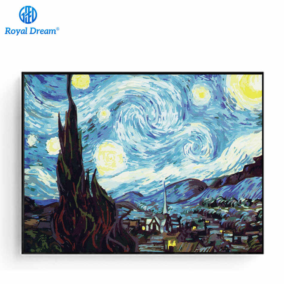 Acrylic Paint By Number Kits Craft for Adults Oil Painting On Canvas Home Decor Picture The Starry Night By Van Gogh Vincent