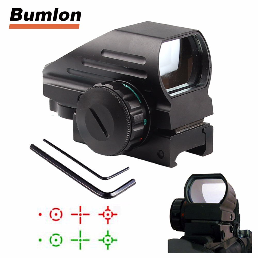 Holographic Aiming Device Red Green Dot Sight Reflex 4 Reticle Projected Scope For Airgun Rifle Hunting Airsoft 20mm RL5-0032