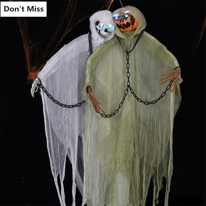 Halloween 2 m suspendu fantôme grand crâne citrouilles fantôme brillant accessoires horreur chaîne démon Halloween fête décoration maison hantée