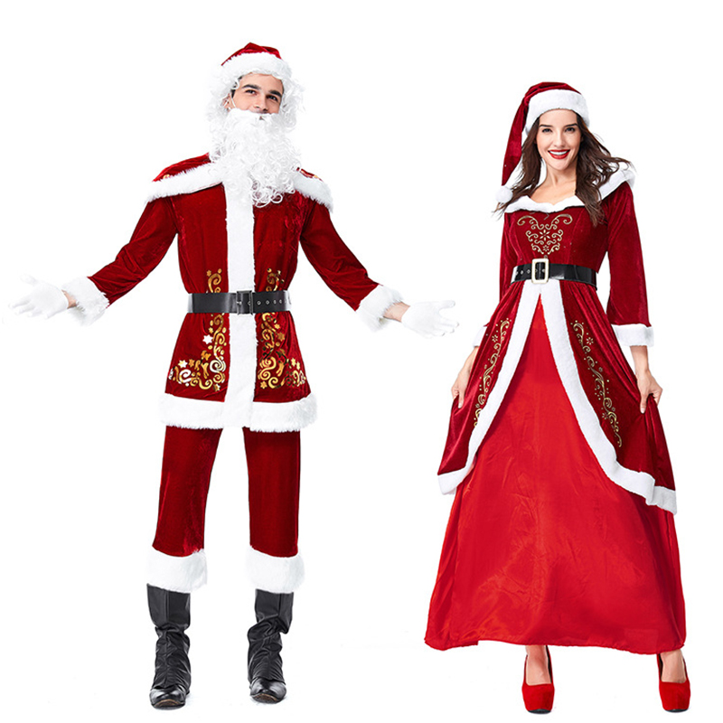 Adult Couples Family Mr & Mrs Santa Costume Christmas New Year Long Sleeve Christmas Princess Queen Costumes for women