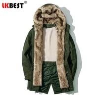 LKBEST 2017 Cotton Padded Fashion Parkas Business New Famous Hooded Villus Casual Brand Winter Jacket Men