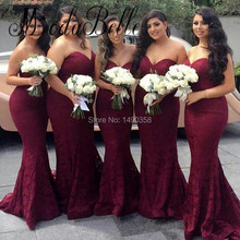 2017 Plus Size Burgundy Bridesmaid Dresses Mermaid Wine Colored Brautjungfernkleid Spitze Cheap Party Dress Wear Wedding Guest