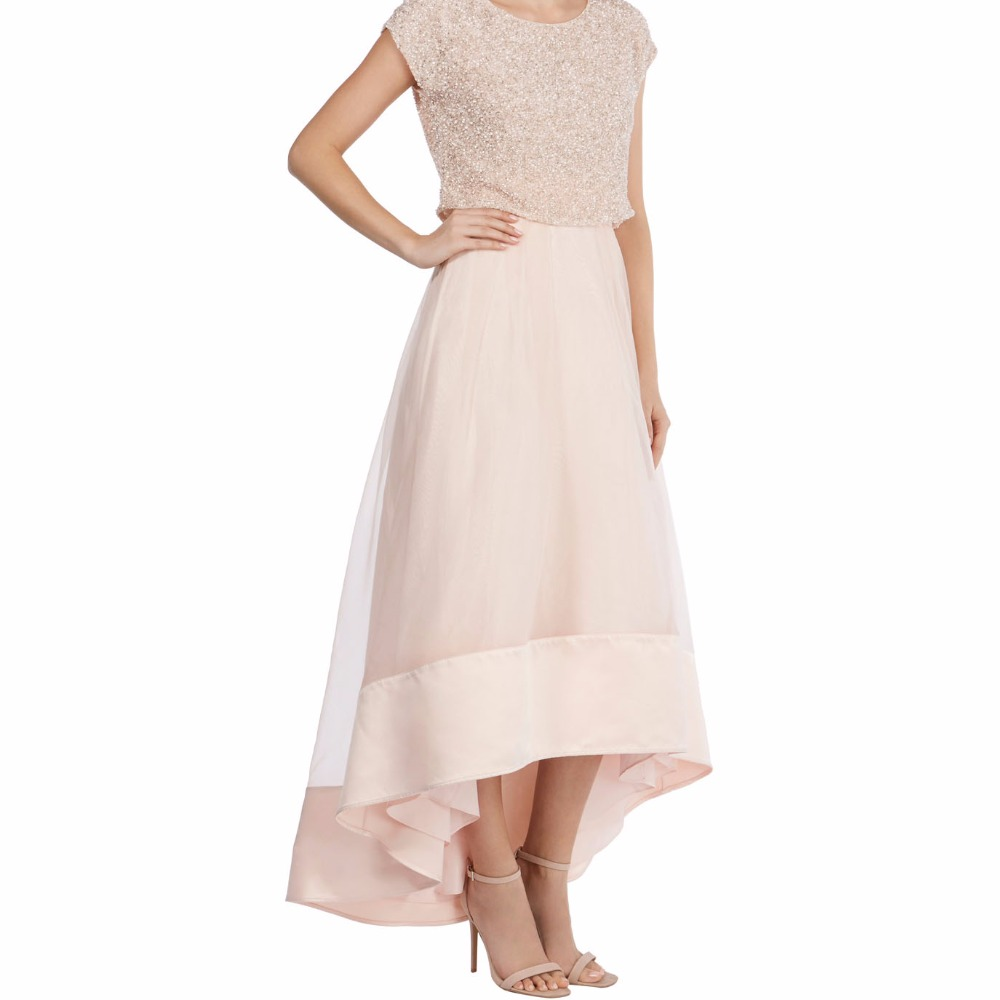 Modest hi low beige long bridesmaid skirt long front short for Beige short wedding dresses