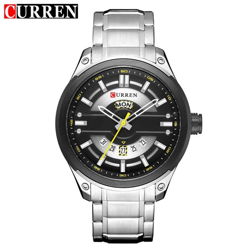 CURREN Business Quartz Men Watch Military Stainless Steel Man Watches Sports Auto Date Week Wristwatches Clock Relogio Masculino