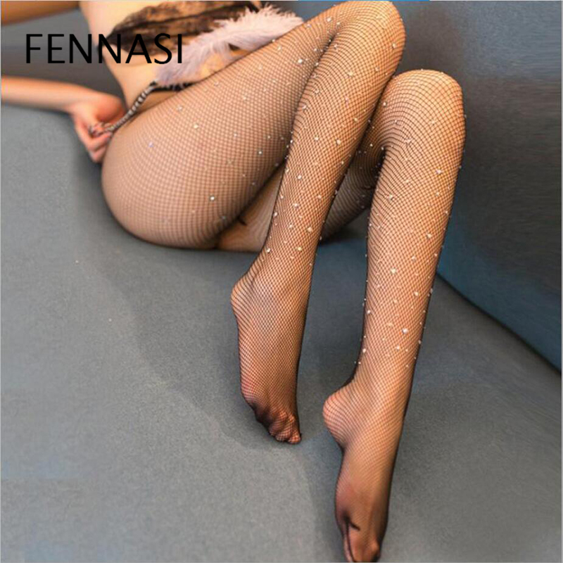FENNASI Sexy Women Shiny Fishnet Stocking Hollow Mesh Diamonds Plaid Tights Sparkle Rhinestone Pantyhose High Quality