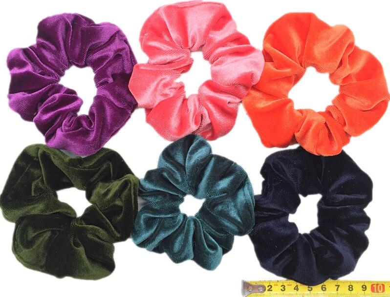 6 шт/лот Бархатные эластичные резинки для волос, резинки для волос для девочек, не складываются, леопардовые женские большие мелкие блестки из шифона с цветочным рисунком - Цвет: PJ065-B-6PCS