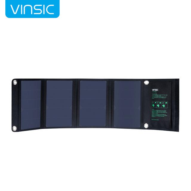 Fordable vinsic exclusivos em todo o mundo 22 w alta eficiência do painel solar e portátil dual-port carregador solar (preto)