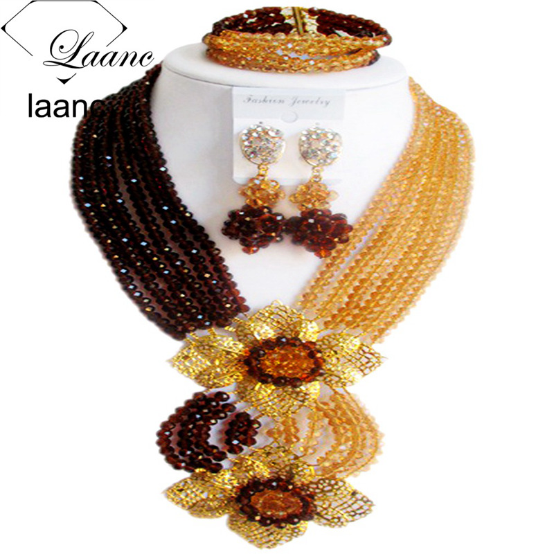 Laanc Fashion Brown Champange Gold Nigerian Wedding African Beads Jewelry Set Crystal C6CHLK025Laanc Fashion Brown Champange Gold Nigerian Wedding African Beads Jewelry Set Crystal C6CHLK025