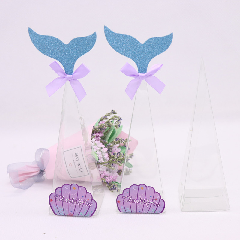 10 Pcs DIY Wholesale Cone Shaped Size:5*5*16cm Thickness:0.25mm Clear PVC Box Packing Gift/Candy Transparent Model Display Box