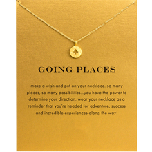 Fashion Gold Color Compass Pendant Necklace Women Minimalist Clavicle Chain Choker Necklaces Going Places Gift Card mothers day