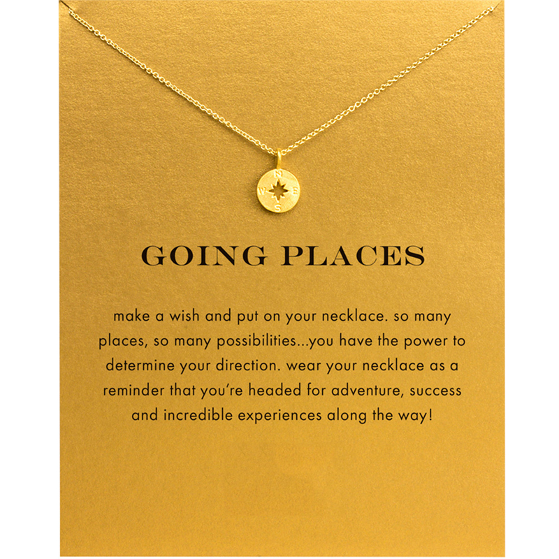 Fashion Gold Color Compass Pendant Necklace Women Minimalist Clavicle Chain Choker Necklaces Going Places Gift Card mothers day image