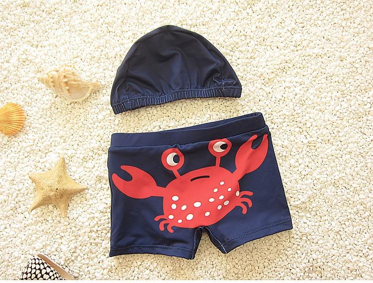 Милые для маленьких мальчиков купальные шорты дети купальники W/кепки печатных Todders купальники пляжные купальные костюмы DEO