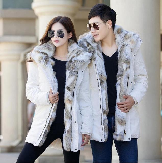 Best Price 2018 Winter Unisex Down Jackets Detachable Fur collar Hooded Coat Warm Outwear Real Rabbit Raccoon Hood Women Men Thick Coats