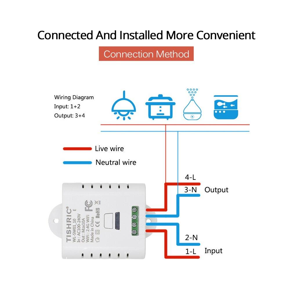 TISHRIC Basic 10A 16A Wifi Switch Remote Wireless Switch