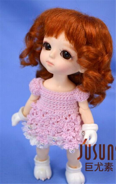 JD012 1/8 5-6 inch  doll wig Lati yellow BJD doll wig Lovely Mohair Wigs  Baby wave wig for Porcelain doll   play doll