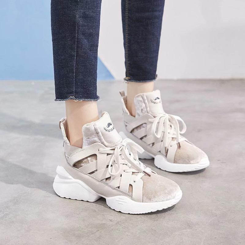 Dumoo Brand 2018 Autumn Sneakers Women Shoes Lady Casual Shoes High Tube Heel 5cm Trainers zapatillas mujer Platform Flock Shoes