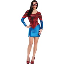 Red Long Sleeve Spider Women Superhero Costumes Halloween Party Cosplay Adult Women's Shiny Metallic Leather Dress