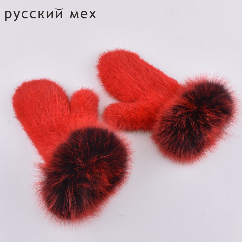 Real fox Fur The latest super-elastic imported mink gloves warm winter mittens Halter female mink knit gloves cute mittens