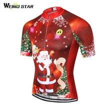 75fa660c3 Weimostar Summer Women Men Cycling Jersey Short Sleeve Cycling Clothing  Cycle Wear Christmas Tree Santa Claus