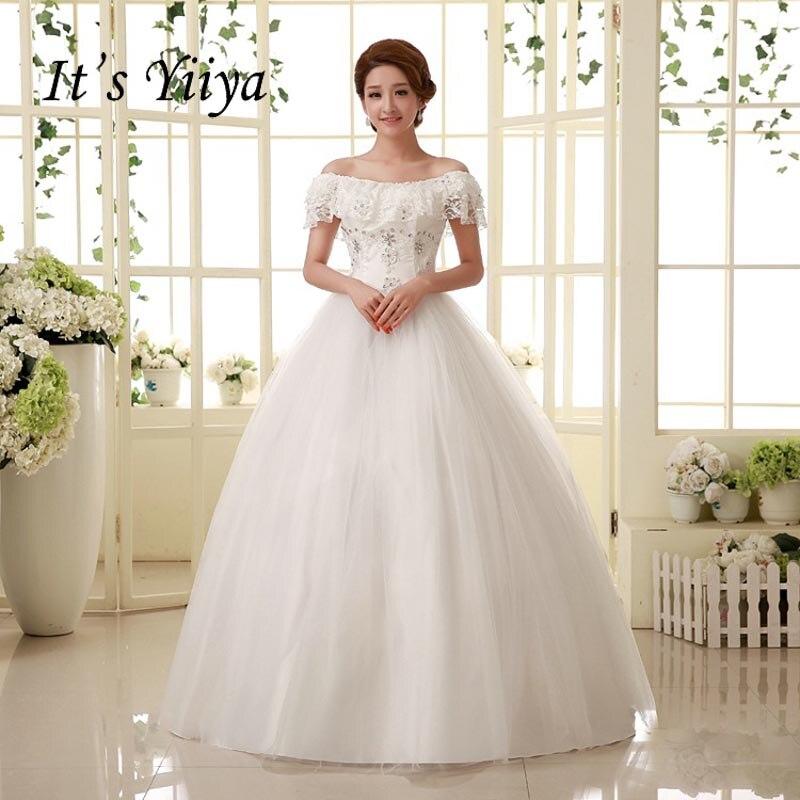 Free Shipping Boat Neck Sequins Wedding Dresses White Cheap Plus size Bride Frocks Summer Style Vestidos De Novia MY306