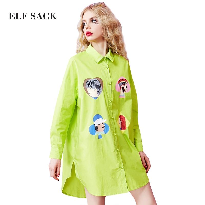 ELF SACK 2017 spring women character printed shirt dress womens turn down collar drop shoulder blouse dress female print dresses