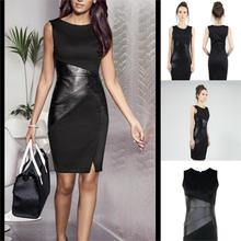 OL Hot Mini Dress PU Leather Partywear Elegant Fashion Slim Pencil Dress Collar Sleeveless Above Knee S/M/L/XL/XXL