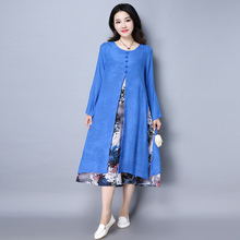 2017 Spring Summer Dress Casual Plus Size Women's Clothing Faux Two Pieces Long Sleeve Print A-Line Dresses