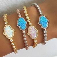 2017 Russia Fashion 100 Pure 925 Sterling Silver Tennis Chain Real Opal Fatima Hand 3 Colors