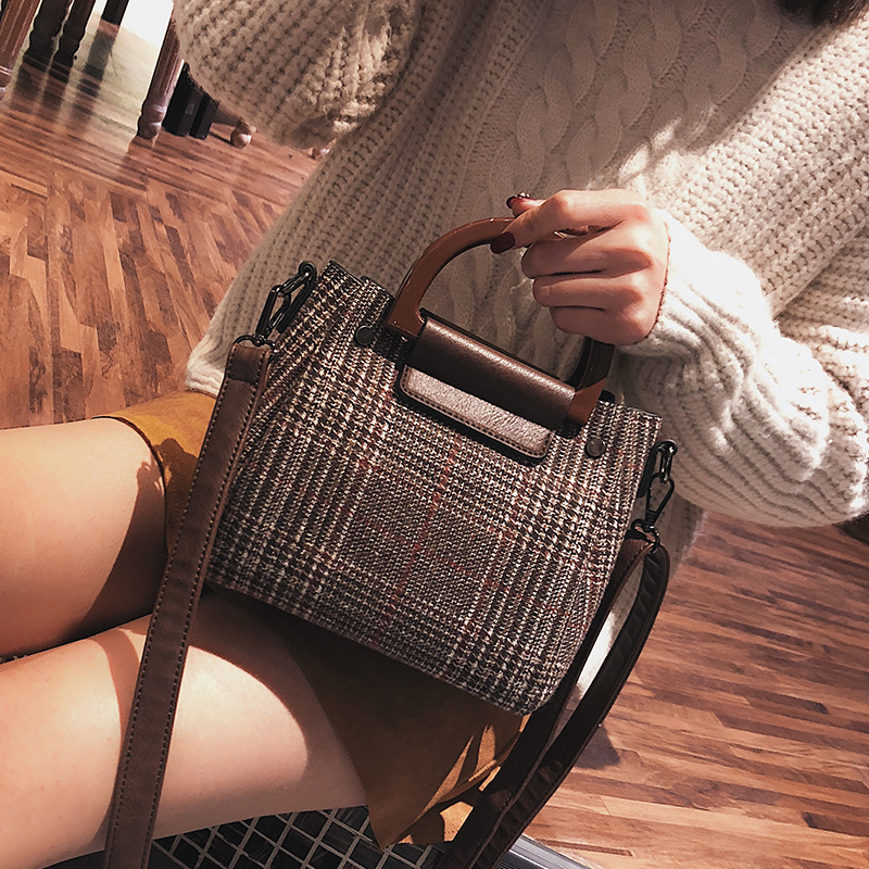 2 Bags Women's Designer Handbag 2018 Fashion New Handbags High Quality Wool Stripes Women Tote Bags Girl Shoulder Messenger Bags
