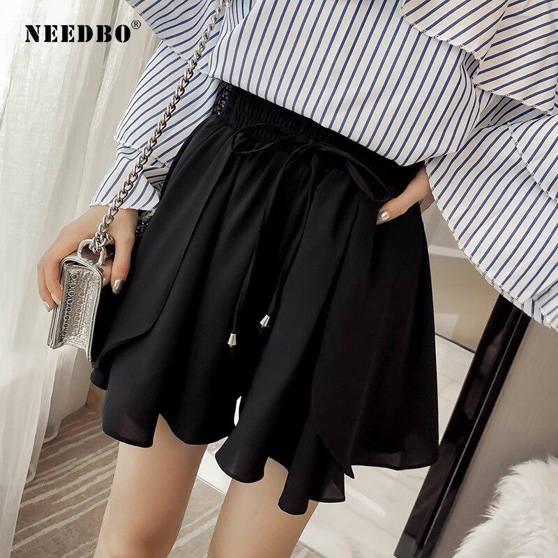 NEEDBO Women Shorts Skirts High Waist Casual Plus Size Shorts Women Sexy Office Ladies Summer Shorts For Women Wide Leg Shorts