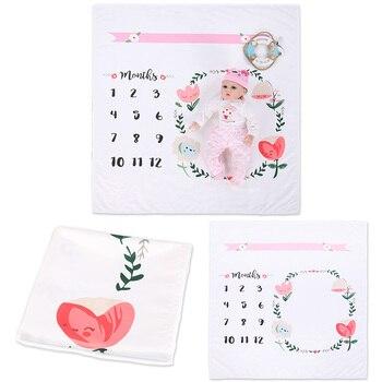 Newborn Baby Milestone Blanket Number Print Infant Photography Background Calendar Blanket Stroller Cover Bedding Swaddling Warp 1