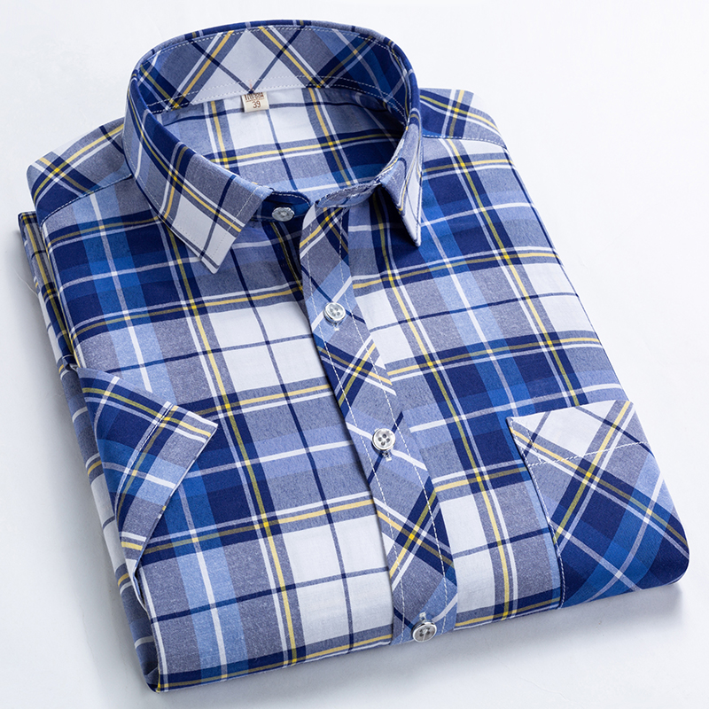Plaid Shirt Short-Sleeved Checkered Collar Square Slim-Fit Men Summer Front-Pocket Male