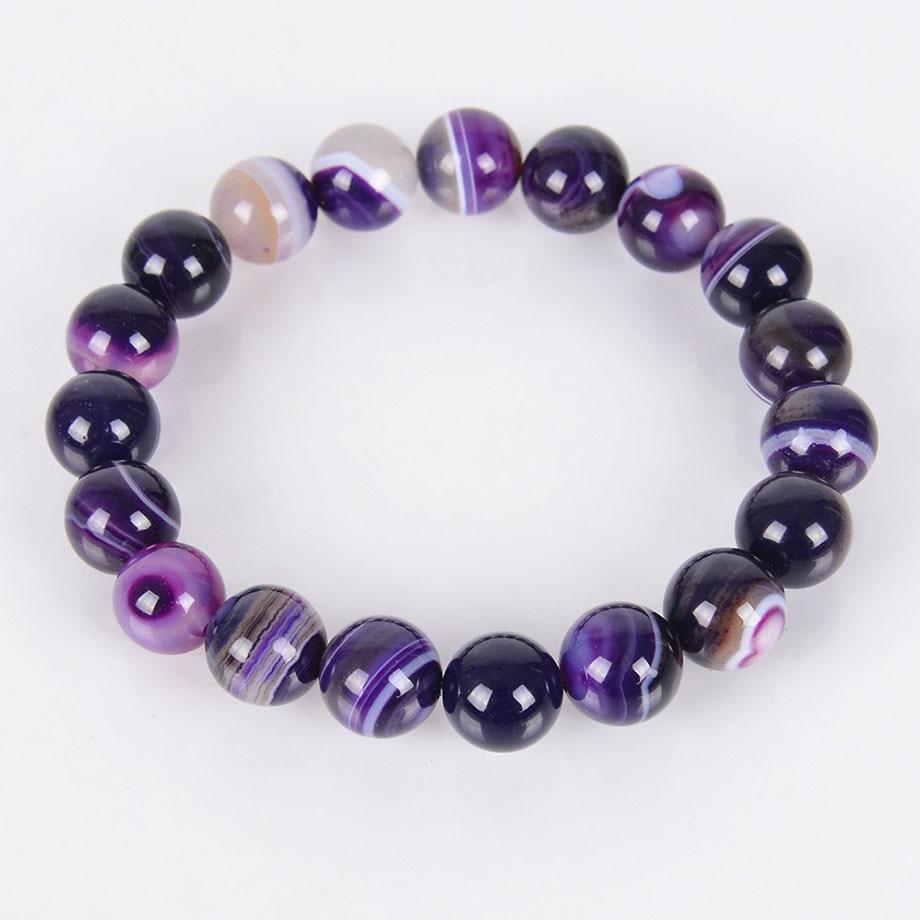 4 6 8 10 12MM Natural Gem Stone Onyx Agates Bracelets Bangles Purple Veins Beads Meditation Healing Energy Jewelry