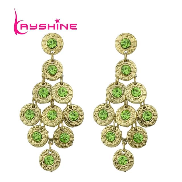 Kayshine Brincos Vintage Luxury Antique Gold-Color Grape Shape Earrings Boucles D'oreille Women With Created Crystal Wholesale