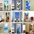 3D Door Sticker Town Street View Flowers Blue Sky Landscape Living Room Door Wall Decoration Mural PVC Door Stickers Home Decor