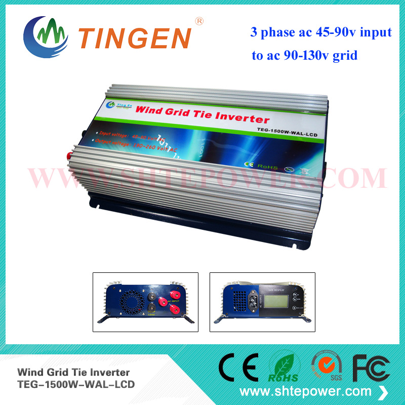 1.5KW 1500Watts On Grid Tie Wind Inverter for wind turbine generator system 3phase ac 45-90v to ac grid tie 100v 110v 120v maylar 3 phase input45 90v 1000w wind grid tie pure sine wave inverter for 3 phase 48v 1000wind turbine no need extra controller