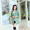 The spring of 2015 the new women's clothing brand ladies fashion double-breasted long big ms code splicing lace trench coat