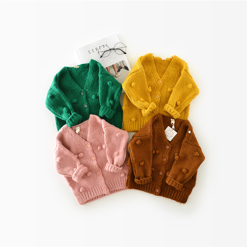 High Quality New Baby Children Clothing Girls Candy Color Knitted Cardigan Sweater Kids Spring Autumn Winter Cotton Outer Wear
