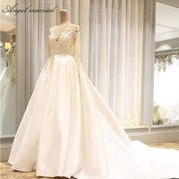 Ангел замуж Robe De Mariage Vestido De Noiva Милая Кружева Принцесса бальное платье с оборками Белый Кот органзы Свадебные платья