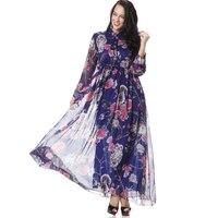 Plus Size Blusas Mujer De Moda 2019 Long Muslim Abaya Kimono Boho Chiffon Floral Women Maxi Cardigan Blouse Shirt Camisas Mujer