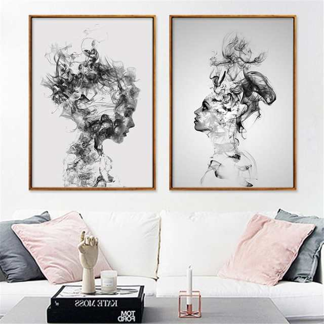 Nordic Modern Abstract Characteristic Smoke Boy Girl Decorative Painting  Living Room Bedroom Decorative Frameless Painting