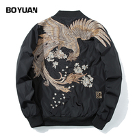 BOYUAN Men Jacket Bird Embroidery High Quality Jacket Coat Outerwear Spring Autumn Casual Hip Hop Bomber