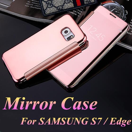 For Samsung Galaxy S7 G9300 S7 Edge G9350 S7 Case Smart Flip Slim View Electroplating Mirror Transparent Phone Cases Cover Back