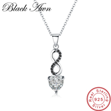 [BLACK AWN] Fine Genuine 100% 925 Sterling Silver Necklace for Women Jewelry Classic Necklaces&Pendants P072