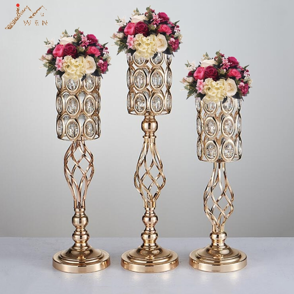 225 & US $257.6 54% OFF|10PCS Metal Flower Vases Gold Candle Holders Hollow Wedding Table Centerpieces Candelabra Flower Rack Road Lead Party Decoration-in ...